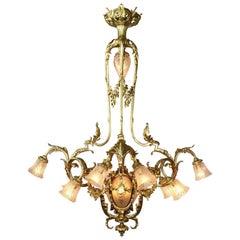 French Belle Époque Gilt-Bronze & Molded Glass 15-Light Lyre Style Chandelier