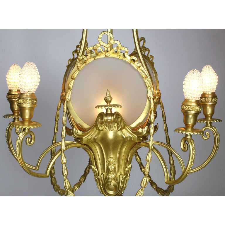 French Belle Époque Neoclassical Revival Style Gilt Metal Six-Light Chandelier For Sale 1