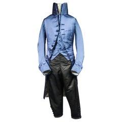 A French Blue Silk Habit de Ville Complete Frock Coat - Napoleonic Period 1805