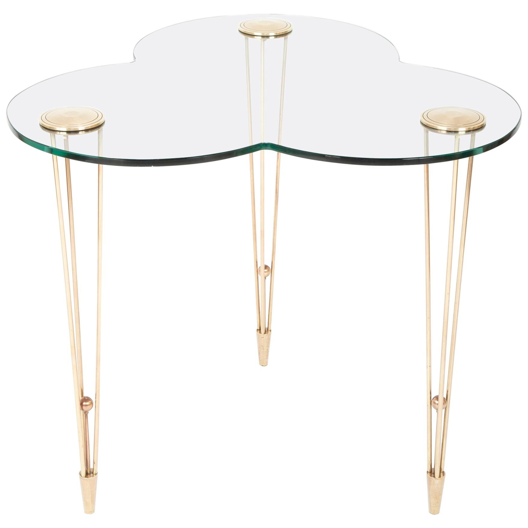 French Brass and Glass Center / Side Table