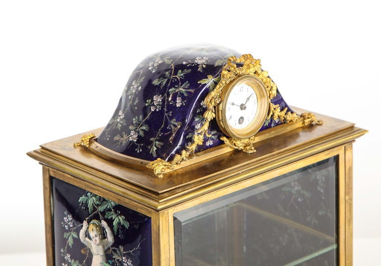 French Bronze and Limoges Enamel Jewelry Vitrine Cabinet with Clock For Sale 5