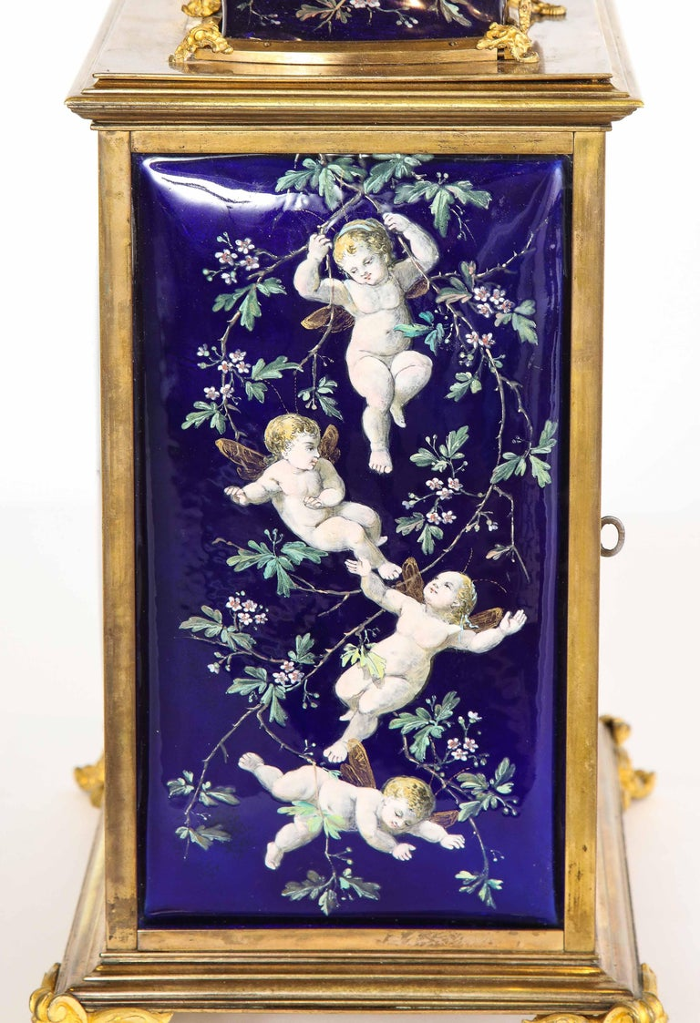 French Bronze and Limoges Enamel Jewelry Vitrine Cabinet with Clock For Sale 6