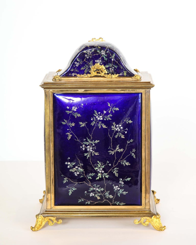 French Bronze and Limoges Enamel Jewelry Vitrine Cabinet with Clock For Sale 8