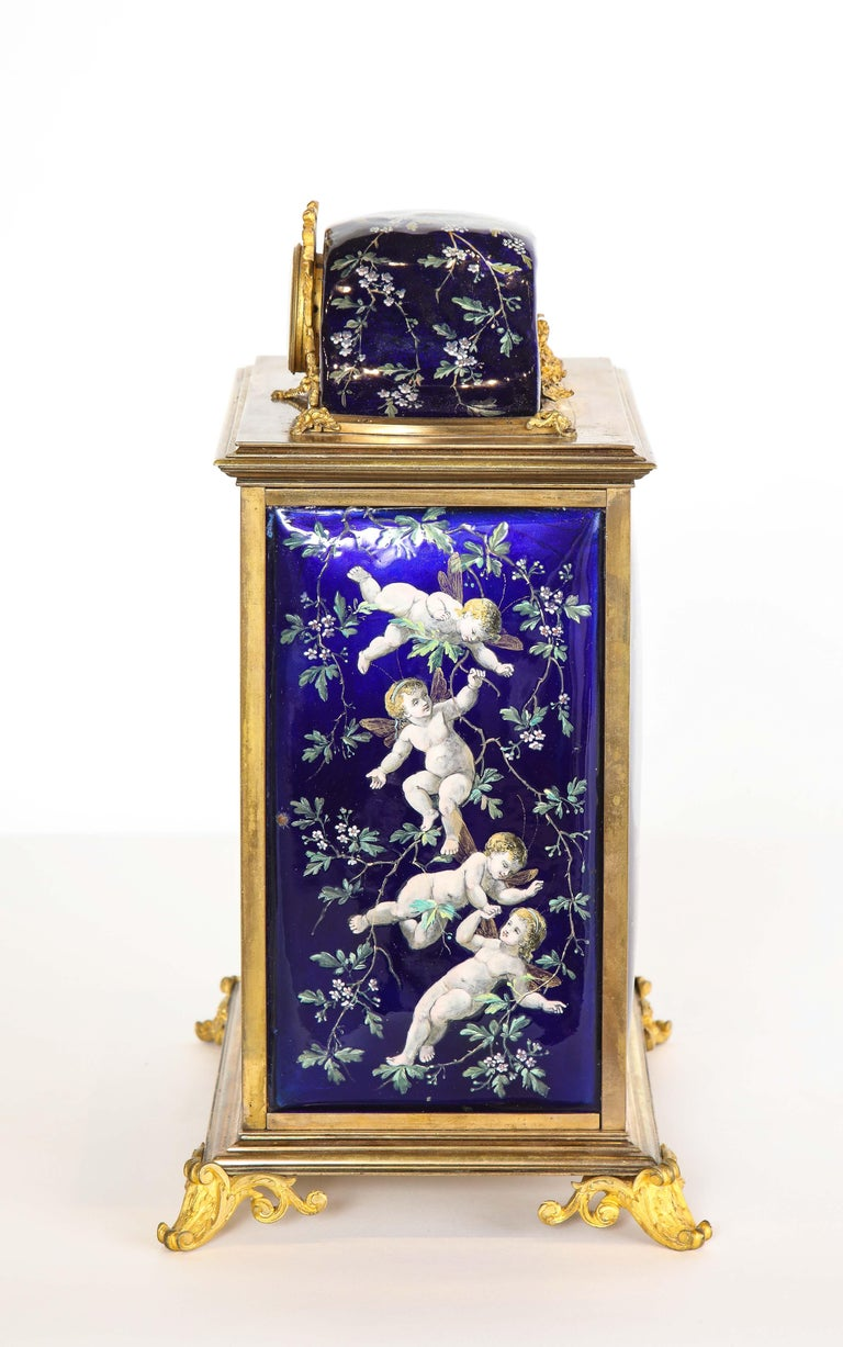 French Bronze and Limoges Enamel Jewelry Vitrine Cabinet with Clock For Sale 11