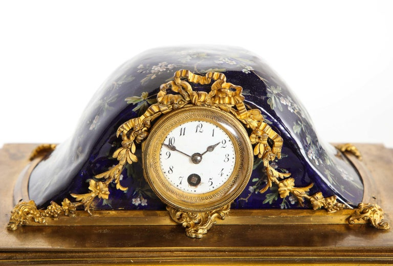 French Bronze and Limoges Enamel Jewelry Vitrine Cabinet with Clock For Sale 13