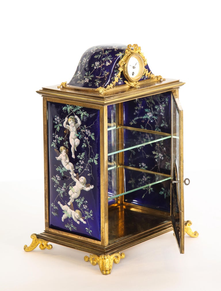 Napoleon III French Bronze and Limoges Enamel Jewelry Vitrine Cabinet with Clock For Sale