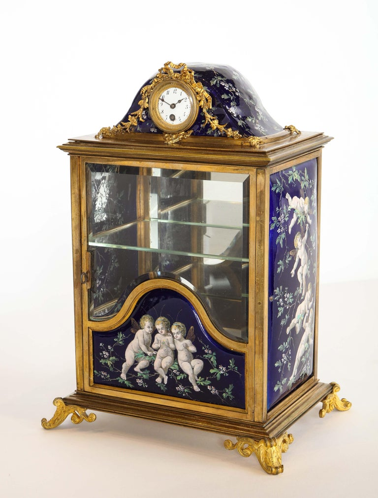 French Bronze and Limoges Enamel Jewelry Vitrine Cabinet with Clock In Good Condition For Sale In New York, NY