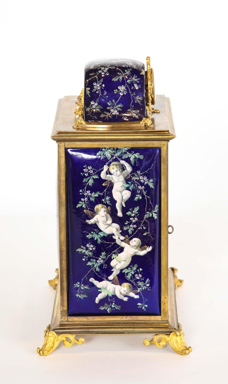 19th Century French Bronze and Limoges Enamel Jewelry Vitrine Cabinet with Clock For Sale