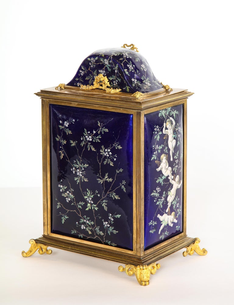 French Bronze and Limoges Enamel Jewelry Vitrine Cabinet with Clock For Sale 1