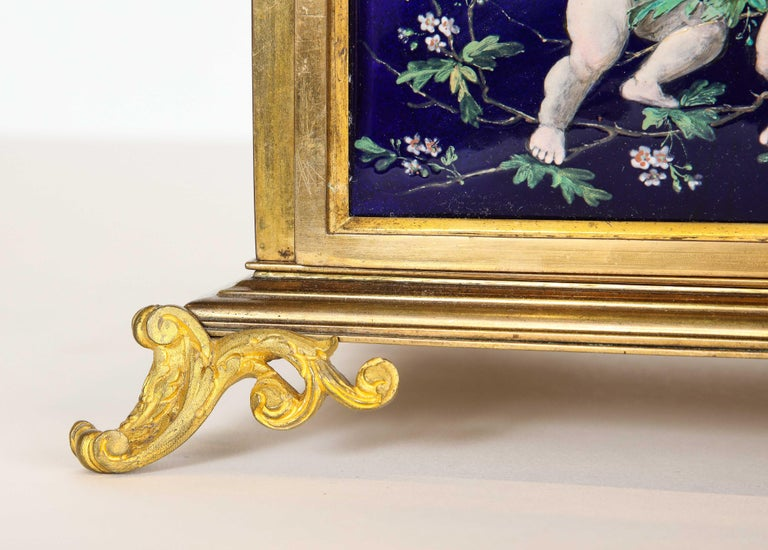 French Bronze and Limoges Enamel Jewelry Vitrine Cabinet with Clock For Sale 3