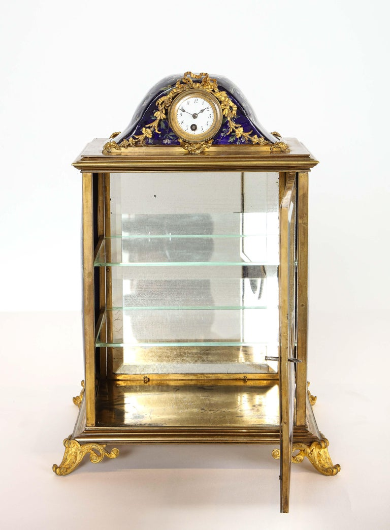 French Bronze and Limoges Enamel Jewelry Vitrine Cabinet with Clock For Sale 4