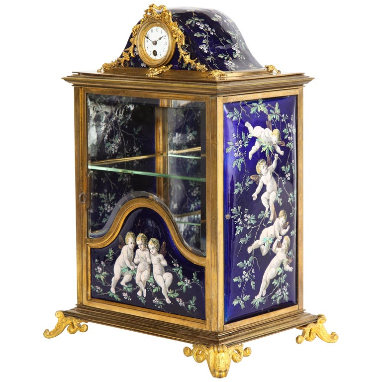 French Bronze and Limoges Enamel Jewelry Vitrine Cabinet with Clock For Sale