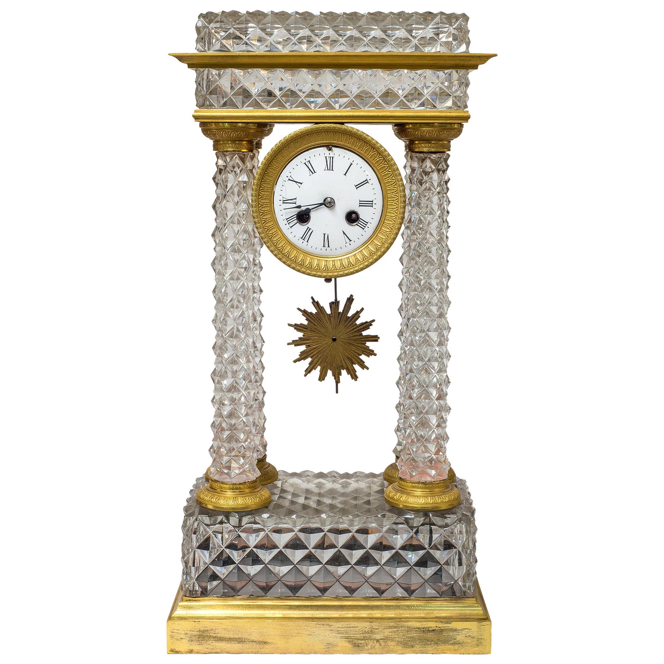 French Charles X Ormolu and Cut-Glass Portico Mantel Clock