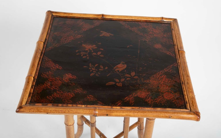 French Chinoiserie Bamboo and Lacquer Side Table For Sale 2