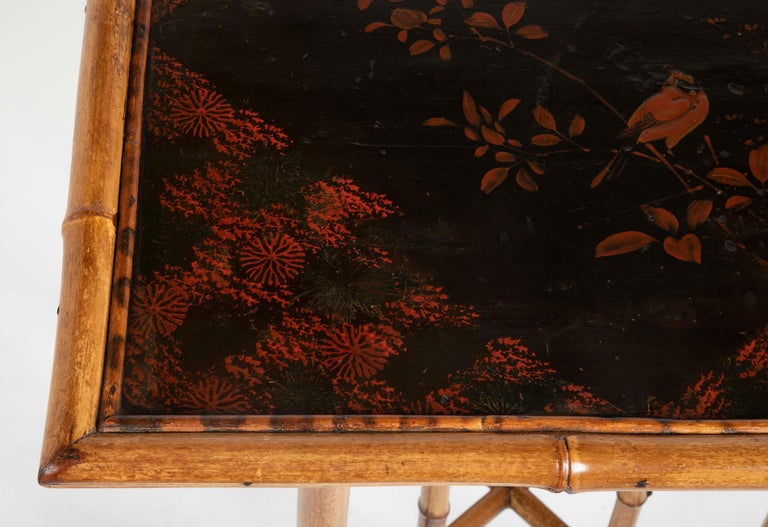 French Chinoiserie Bamboo and Lacquer Side Table For Sale 3
