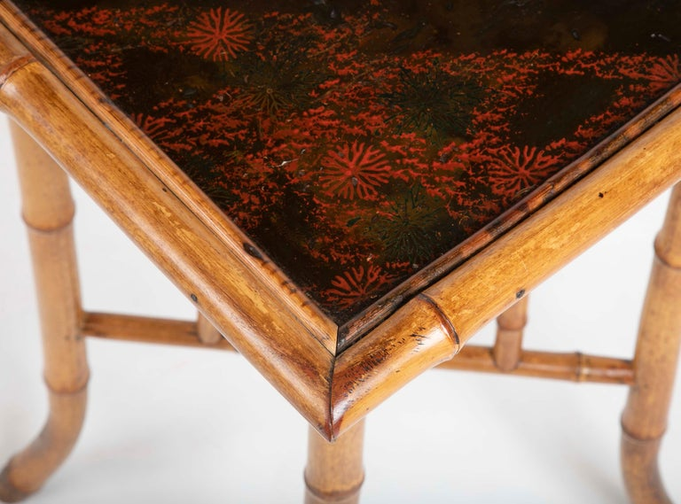 French Chinoiserie Bamboo and Lacquer Side Table For Sale 5