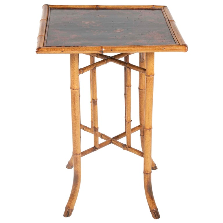 French Chinoiserie Bamboo and Lacquer Side Table For Sale