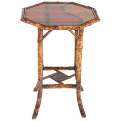 French Chinoiserie Bamboo and Lacquer Side Table with Hexagonal Top