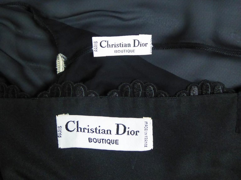 Black A French Christian Dior Embroidered Chiffon Dress and Blouse Circa 1980 For Sale
