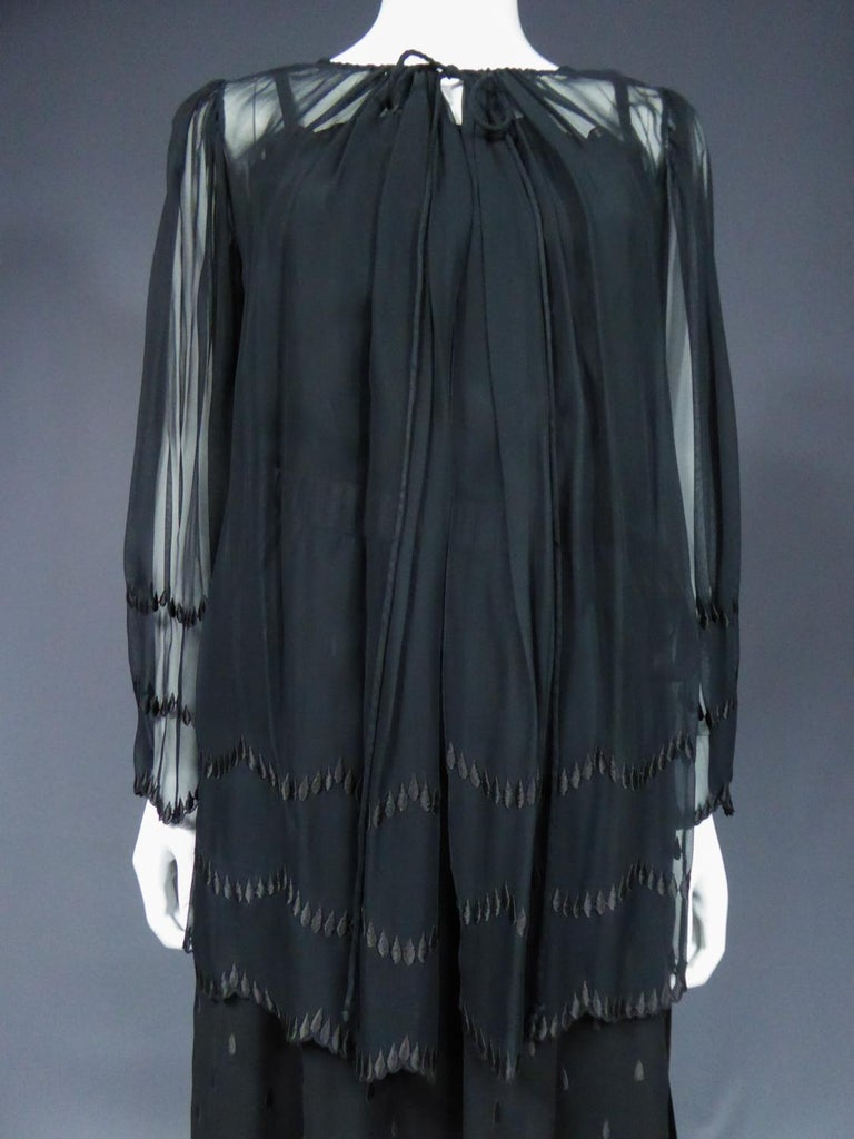 A French Christian Dior Embroidered Chiffon Dress and Blouse Circa 1980 In Excellent Condition For Sale In Toulon, FR