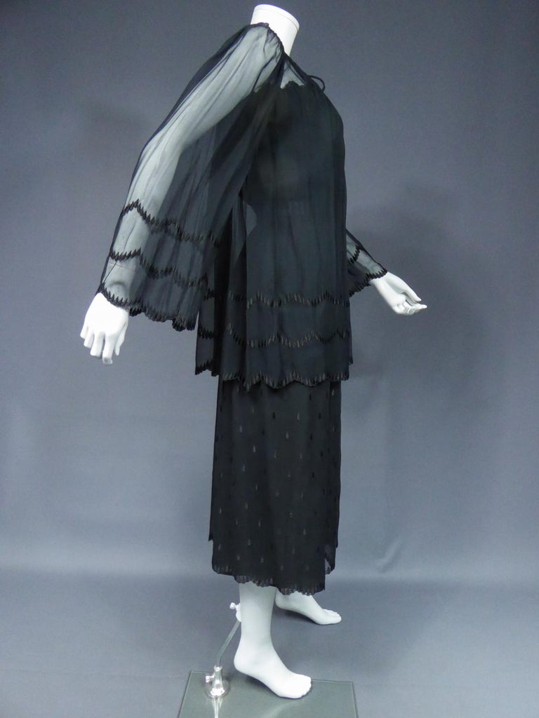Women's A French Christian Dior Embroidered Chiffon Dress and Blouse Circa 1980 For Sale