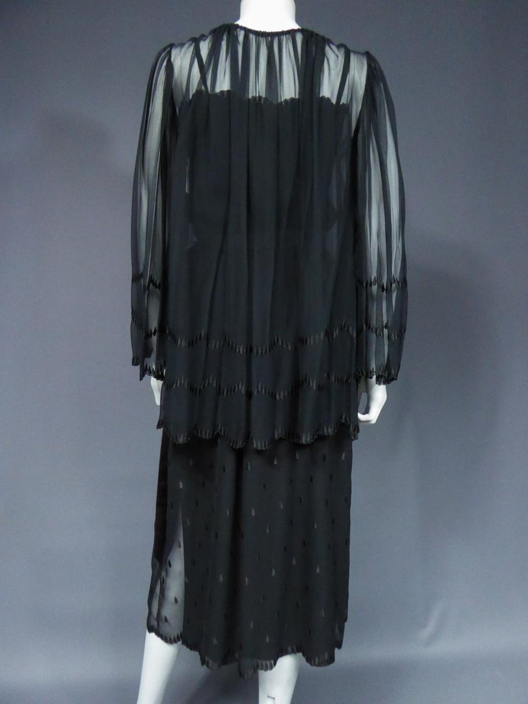 A French Christian Dior Embroidered Chiffon Dress and Blouse Circa 1980 For Sale 1