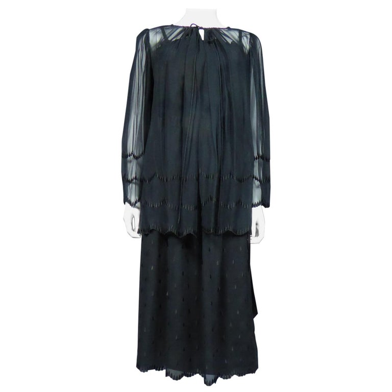 A French Christian Dior Embroidered Chiffon Dress and Blouse Circa 1980 For Sale