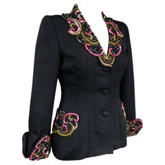 A French Couture Bar Jacket Beads & Sequins Embroidered Sequins Circa 1950