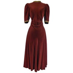 A French Couture Beaded and Velvet Dress Circa 1940-1950