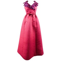A French Couture Maggy Rouff Chocking Pink Evening Gown Circa 1965
