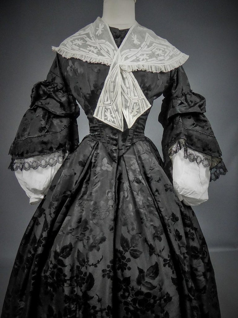 Black A French Crinoline Damask Silk Day Dress Circa 1865 with Provenance For Sale