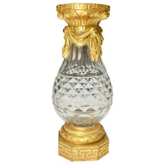 French Cut Crystal and Gilt Bronze Bud Vase