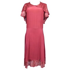 A French Day Dress inCrepe Silk and LaceCirca 1935/1940