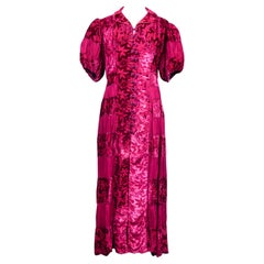 A French Devoré Velvet fuschia evening dress in Crepe Silk Circa 1940