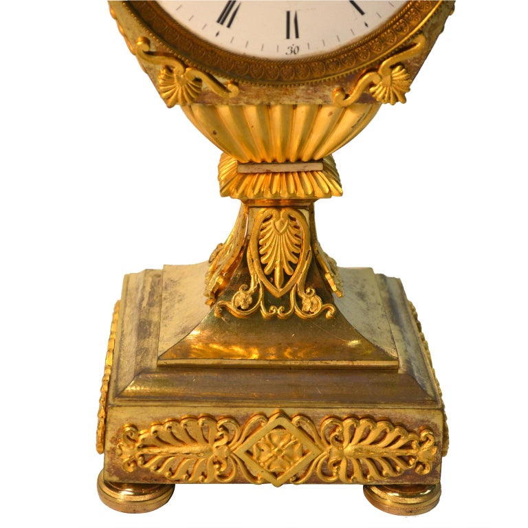 French Early 19th Century Empire Gilt Bronze Dragon Handled Urn Clock For Sale 1
