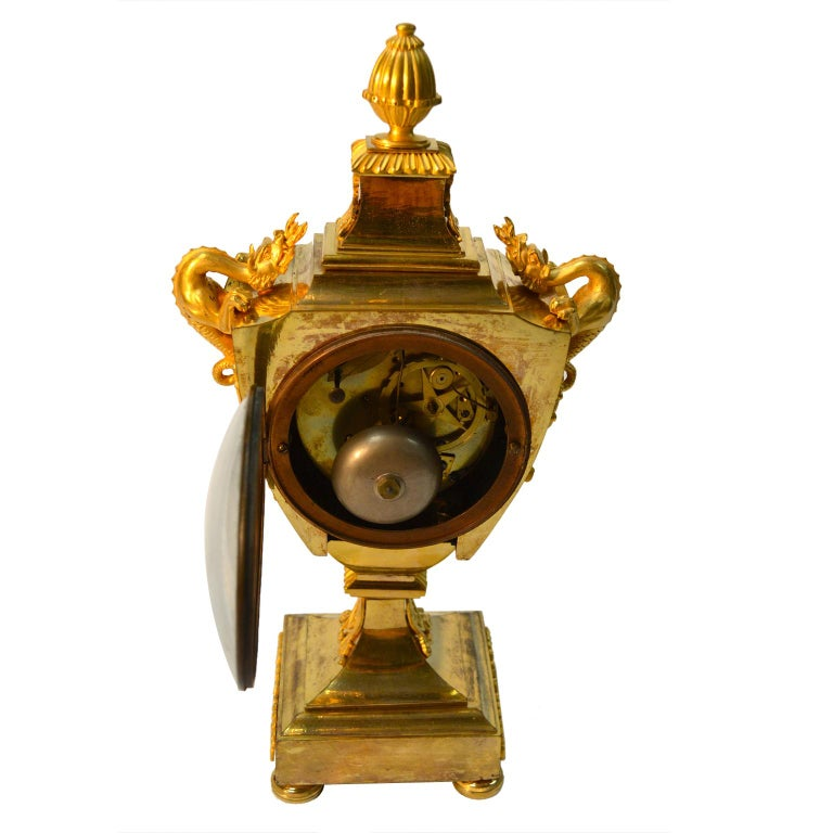 French Early 19th Century Empire Gilt Bronze Dragon Handled Urn Clock For Sale 4