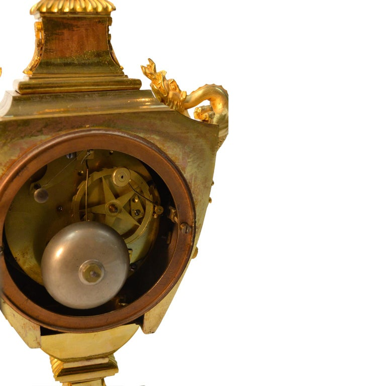 French Early 19th Century Empire Gilt Bronze Dragon Handled Urn Clock For Sale 5
