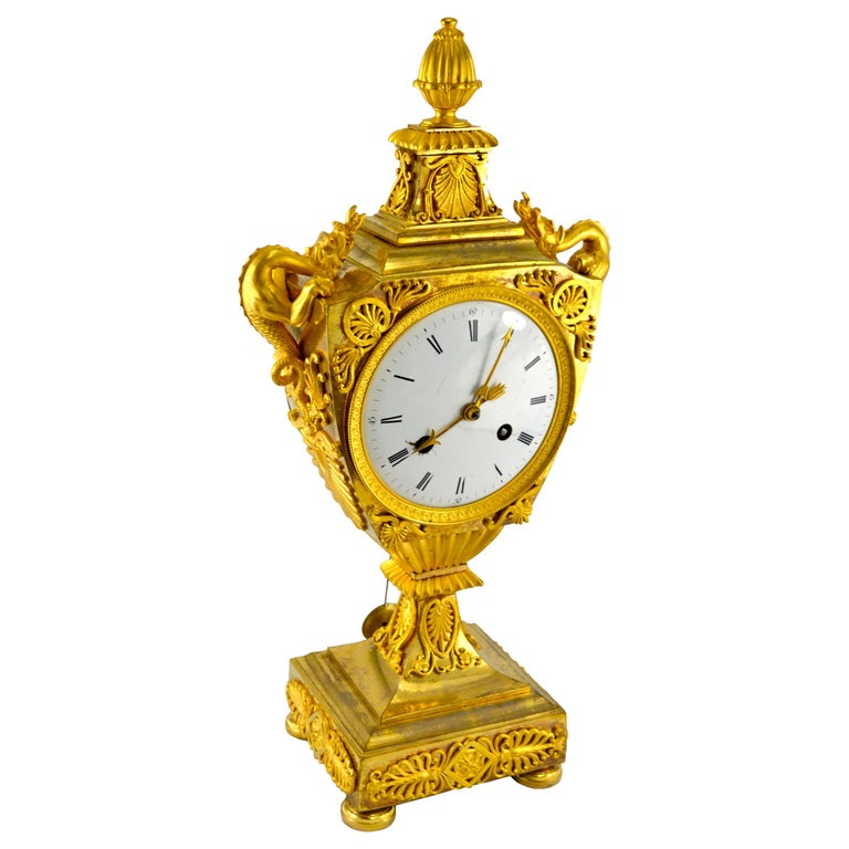 French Early 19th Century Empire Gilt Bronze Dragon Handled Urn Clock For Sale