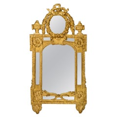 French Early 19th Century Louis XVI Style Double Framed Giltwood Mirror
