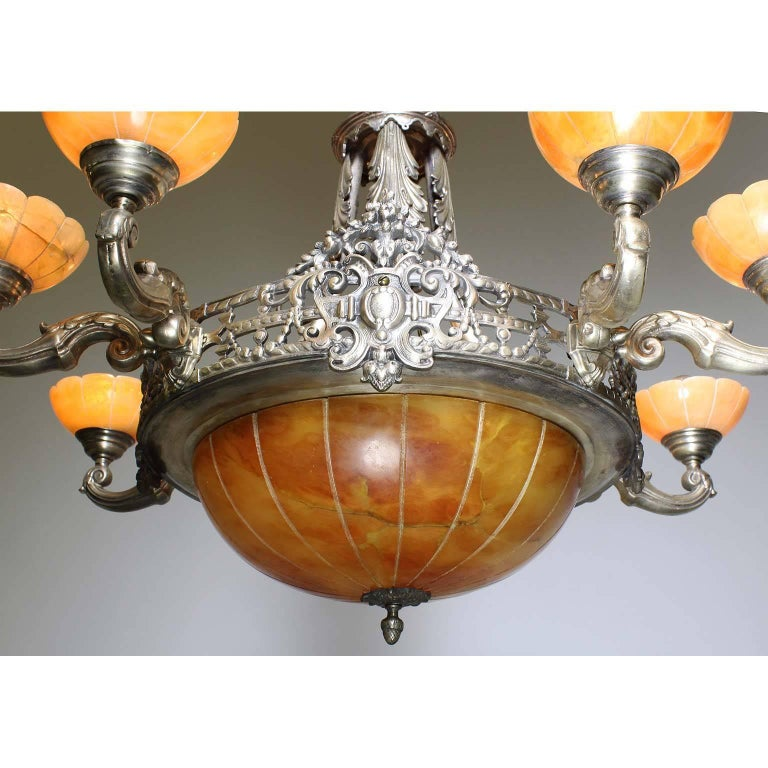 French Early 20th Century Art Deco Silvered Bronze and Alabaster Chandelier In Good Condition For Sale In Los Angeles, CA