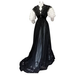 A French Edwardian Chiffon and Lace Tea-Gown Circa 1900