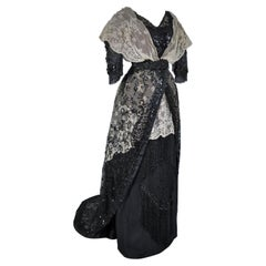 A French Edwardian Tulle Embroidered Evening Dress Circa 1900