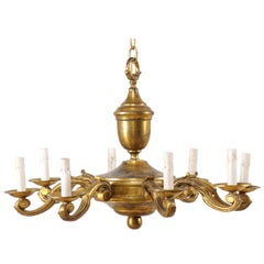 French Eight-Light Gold Tone Metal Chandelier, Mid-20th Century