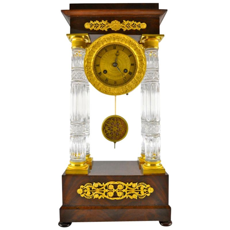 French Empire Mahogany and Cut Crystal Columned Portico Clock