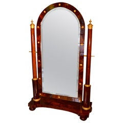 French Empire Mahogany and Gilded Bronze Cheval Mirror