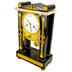 French Empire Marble and Gilt Bronze Portico Clock