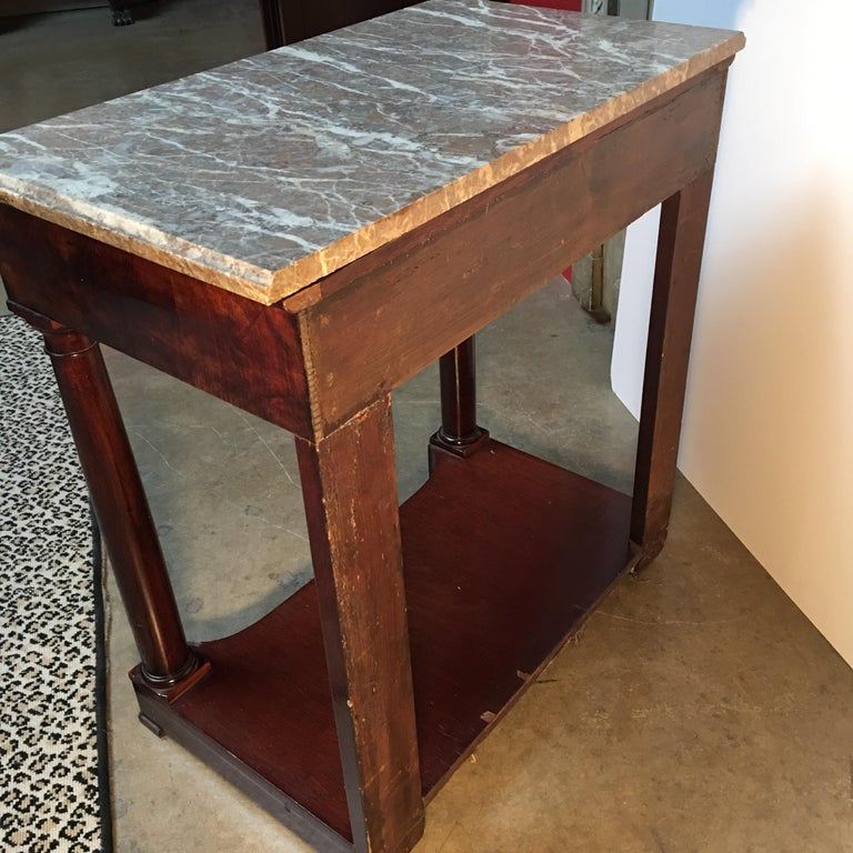 French Empire Style Mahogany Console with Marble Top For Sale 4