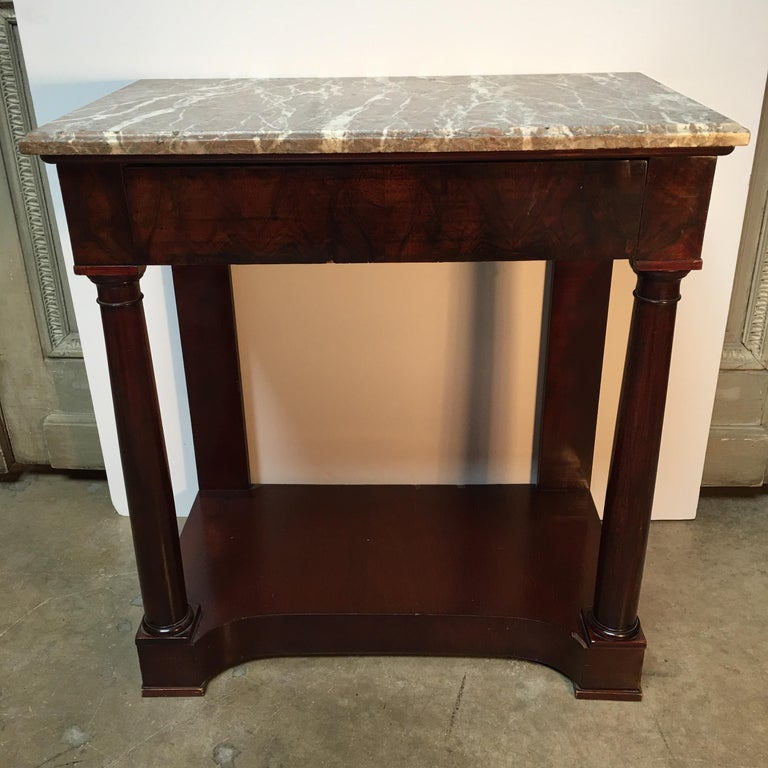 Veneer French Empire Style Mahogany Console with Marble Top For Sale