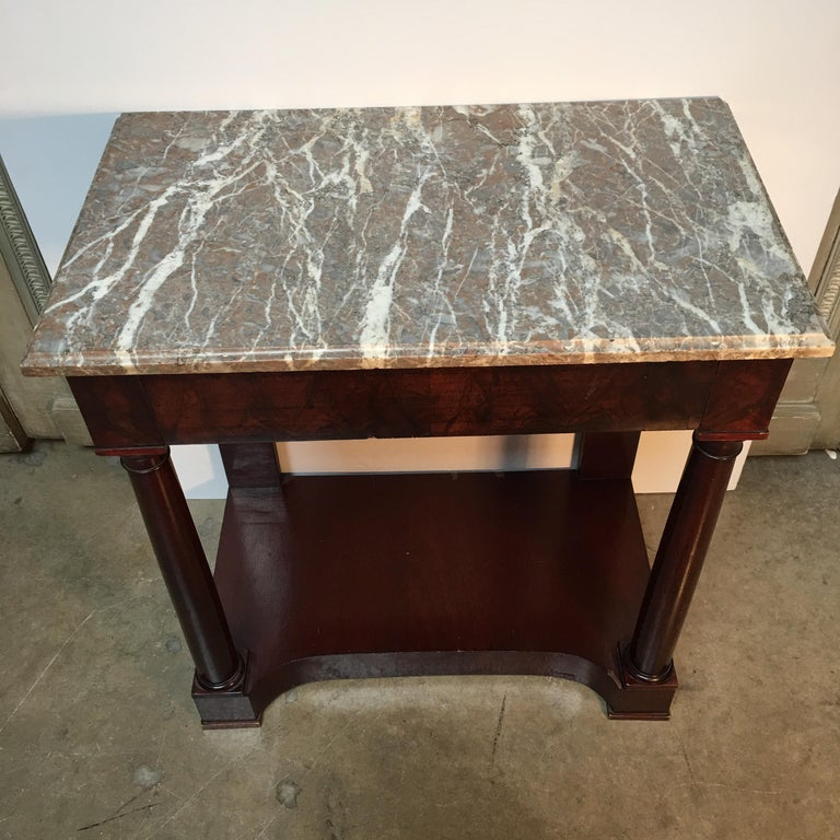 French Empire Style Mahogany Console with Marble Top For Sale 2