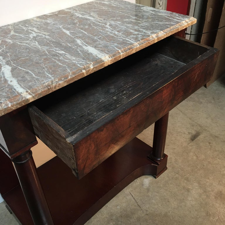 French Empire Style Mahogany Console with Marble Top For Sale 3